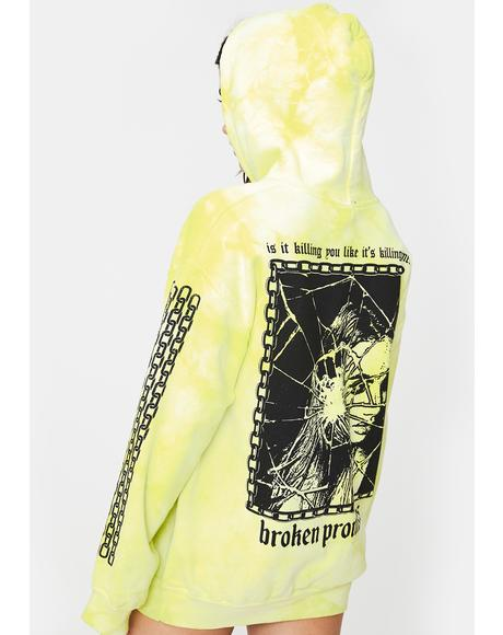 Neon Yellow Shattered Tie Dye Hoodie