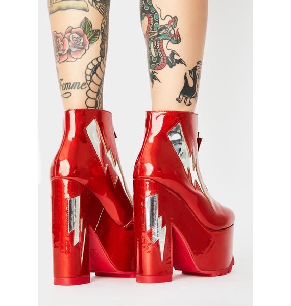 Y.R.U. Red Nightmare Bolt Platform Boots
