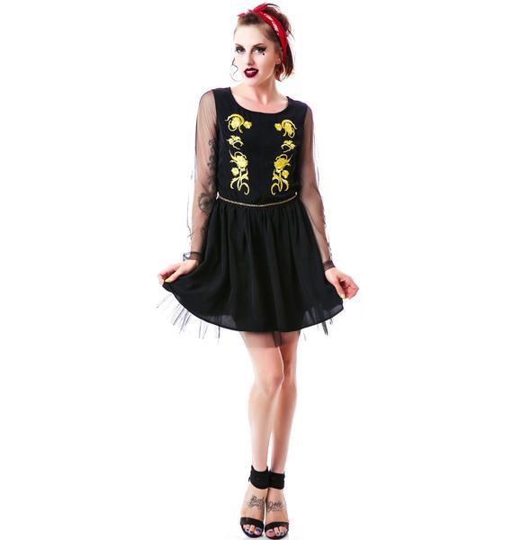 Ornate Emblem Long Sleeve Dress