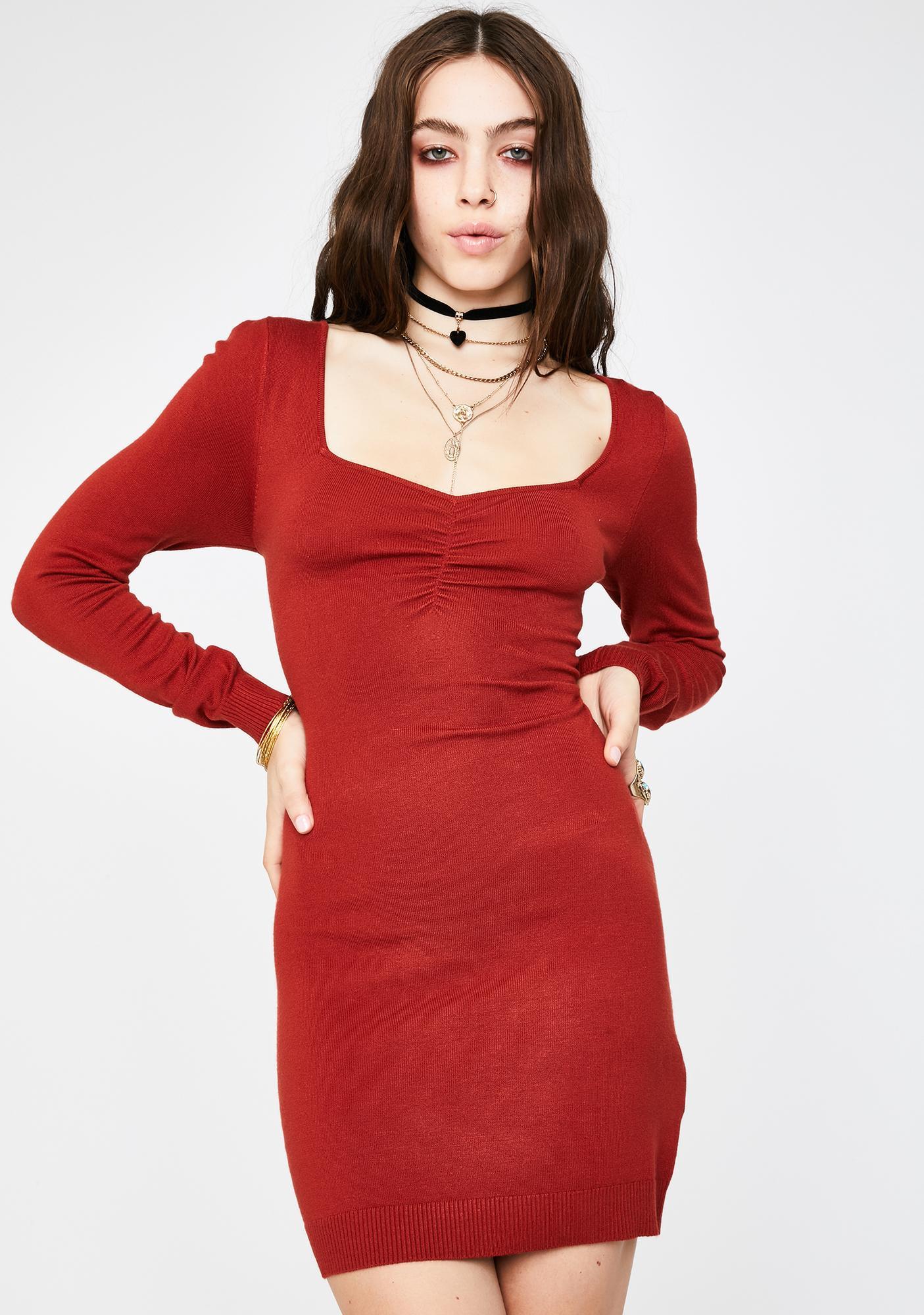 Glamorous Rust Long Sleeve Mini Dress