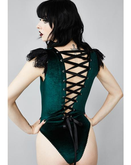 Stained Glass Heart Lace-Up Bodysuit
