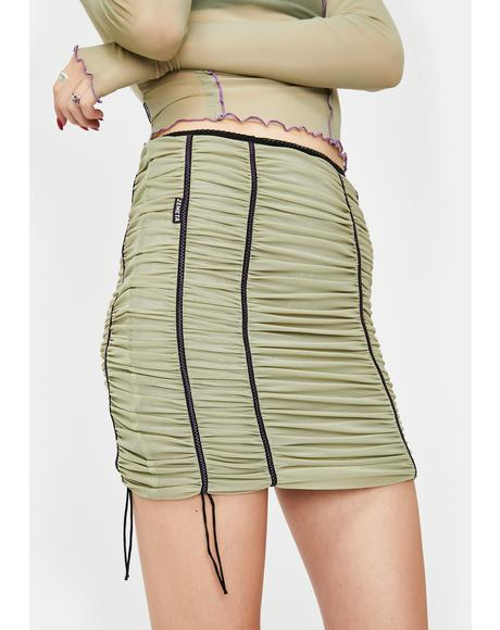 Khaki Mood Ruched Mini Skirt