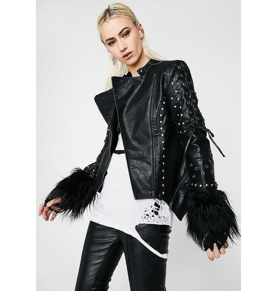 Killstar Ragnarok Fur Biker Jacket