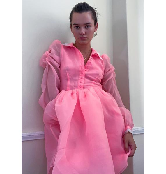 Selkie Highlighter Pink Kiki Long Sleeve Dress