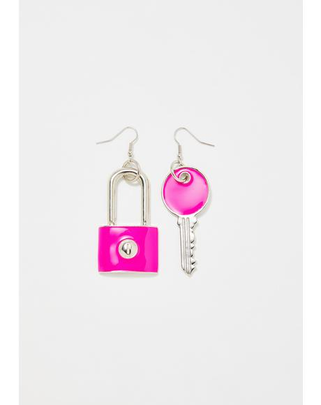 Locked Into You Charm Earrings