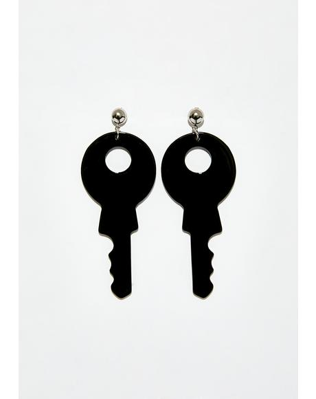 Locked Out Key Earrings