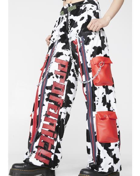 Cow Print Cargo Pants