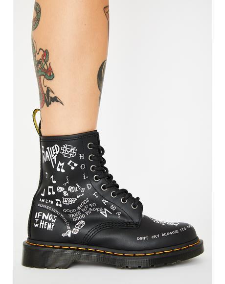 1460 Scribble Combat Boots