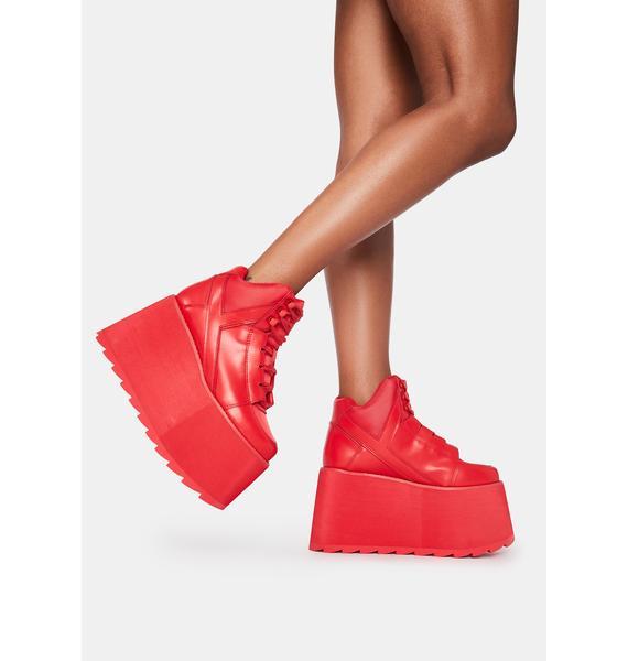 Y.R.U. Red Qozmo Platform Sneakers