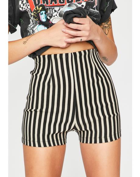 Taupe Color Me Baddie Striped Shorts