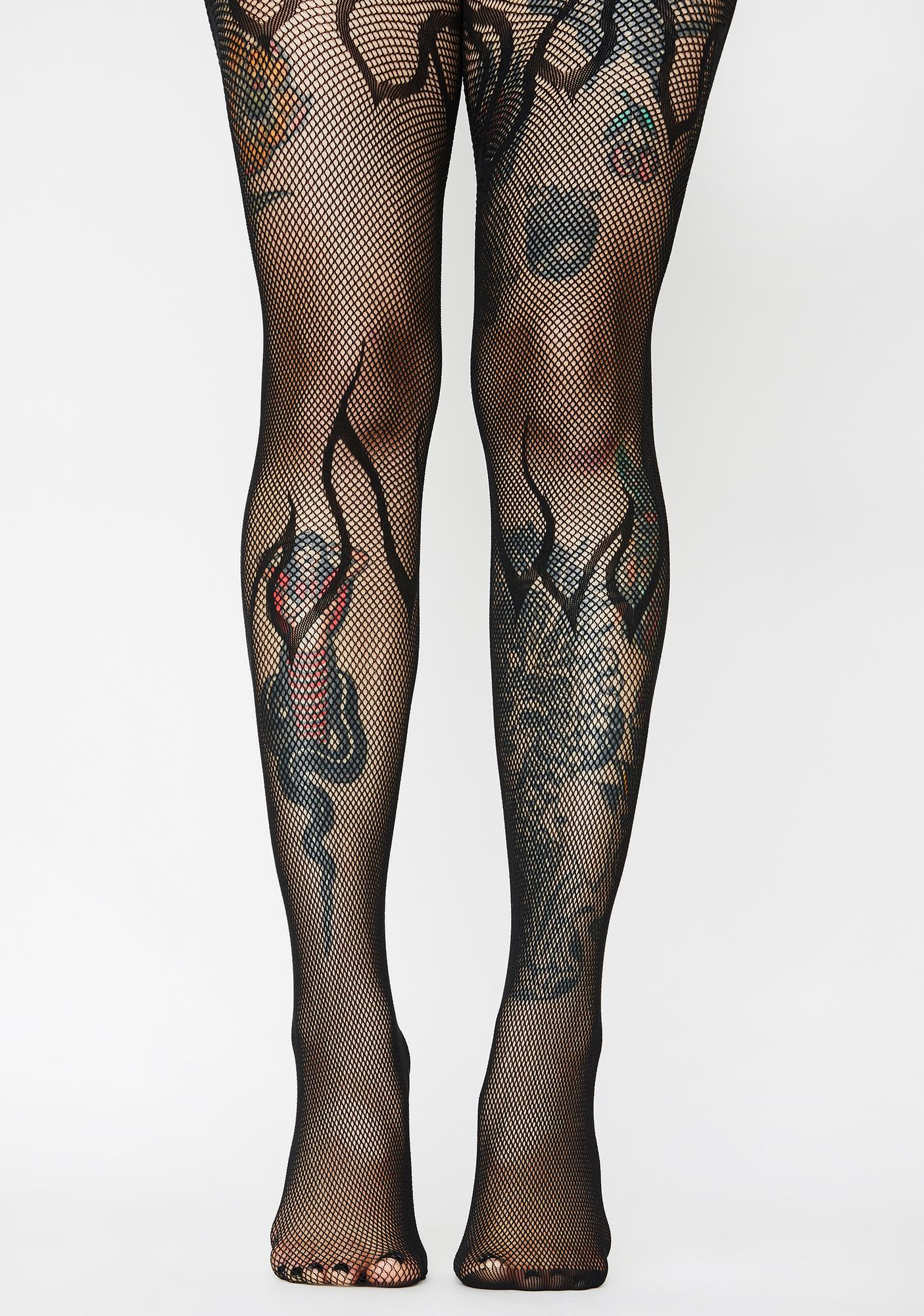Dark Flame On Fishnet Tights