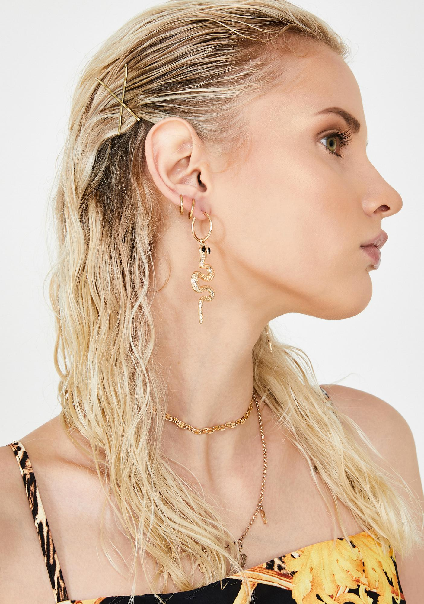 Gold Hearted Snake Earrings