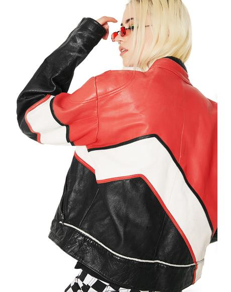 Vintage Red, White, N' Black Leather Racing Jacket