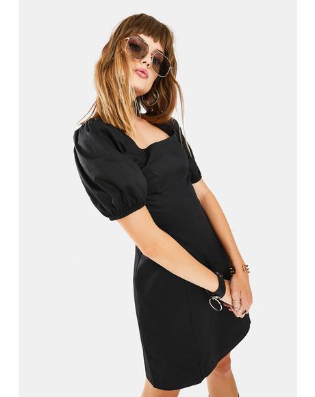 Onyx Puff Sleeve Mini Dress