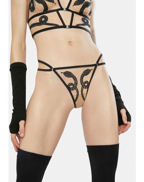 Medusa Embroidered Thong