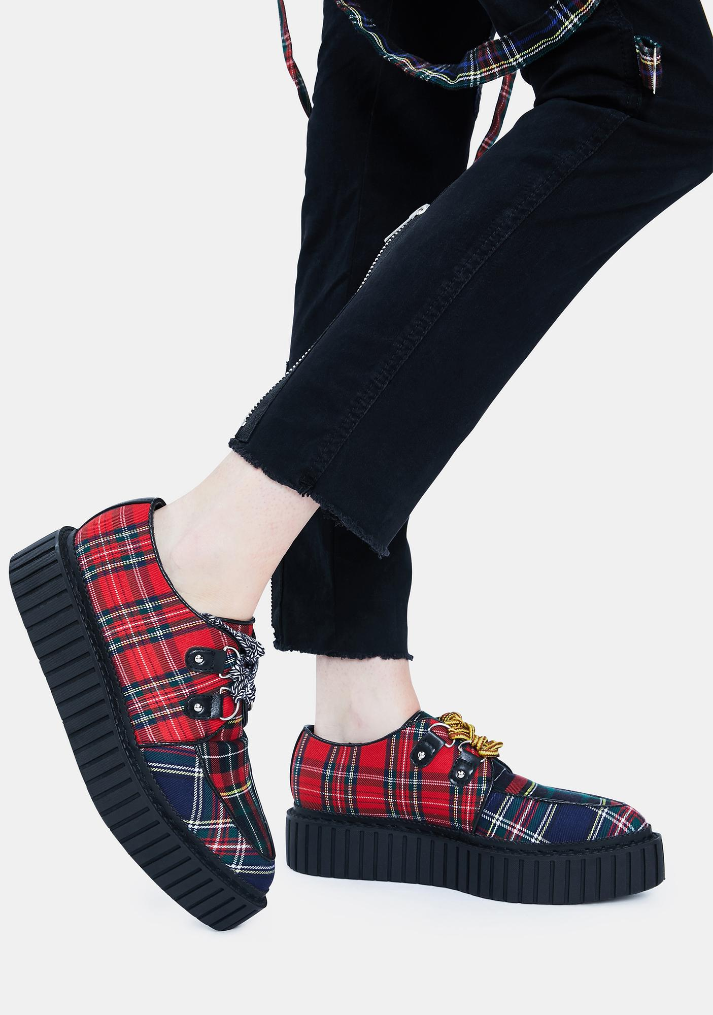 Current Mood Riot Squad Mixed Plaid Creepers
