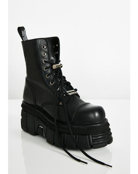 Switchblade Sis Leather Platforms