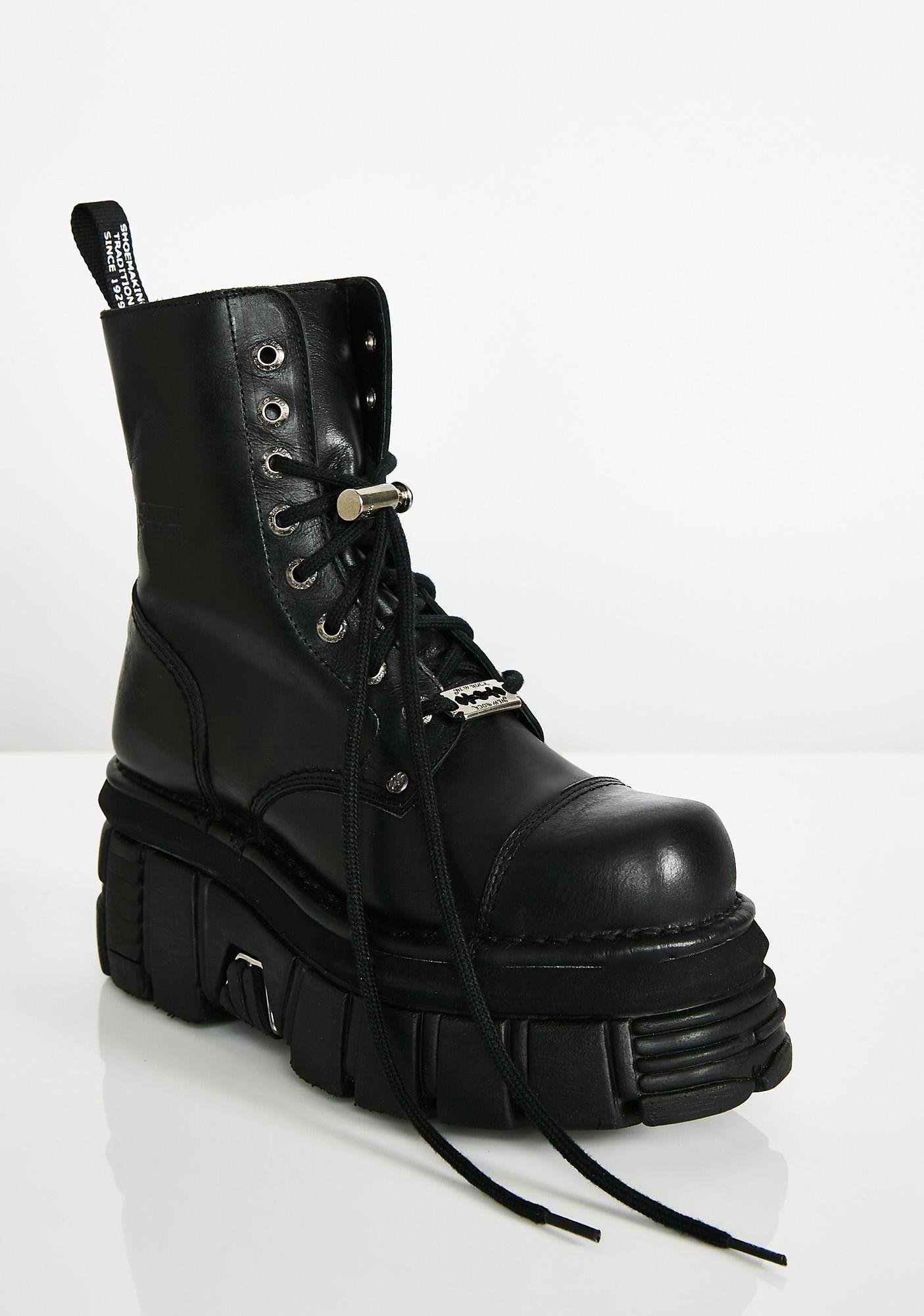 New Rock Switchblade Sis Leather Platforms