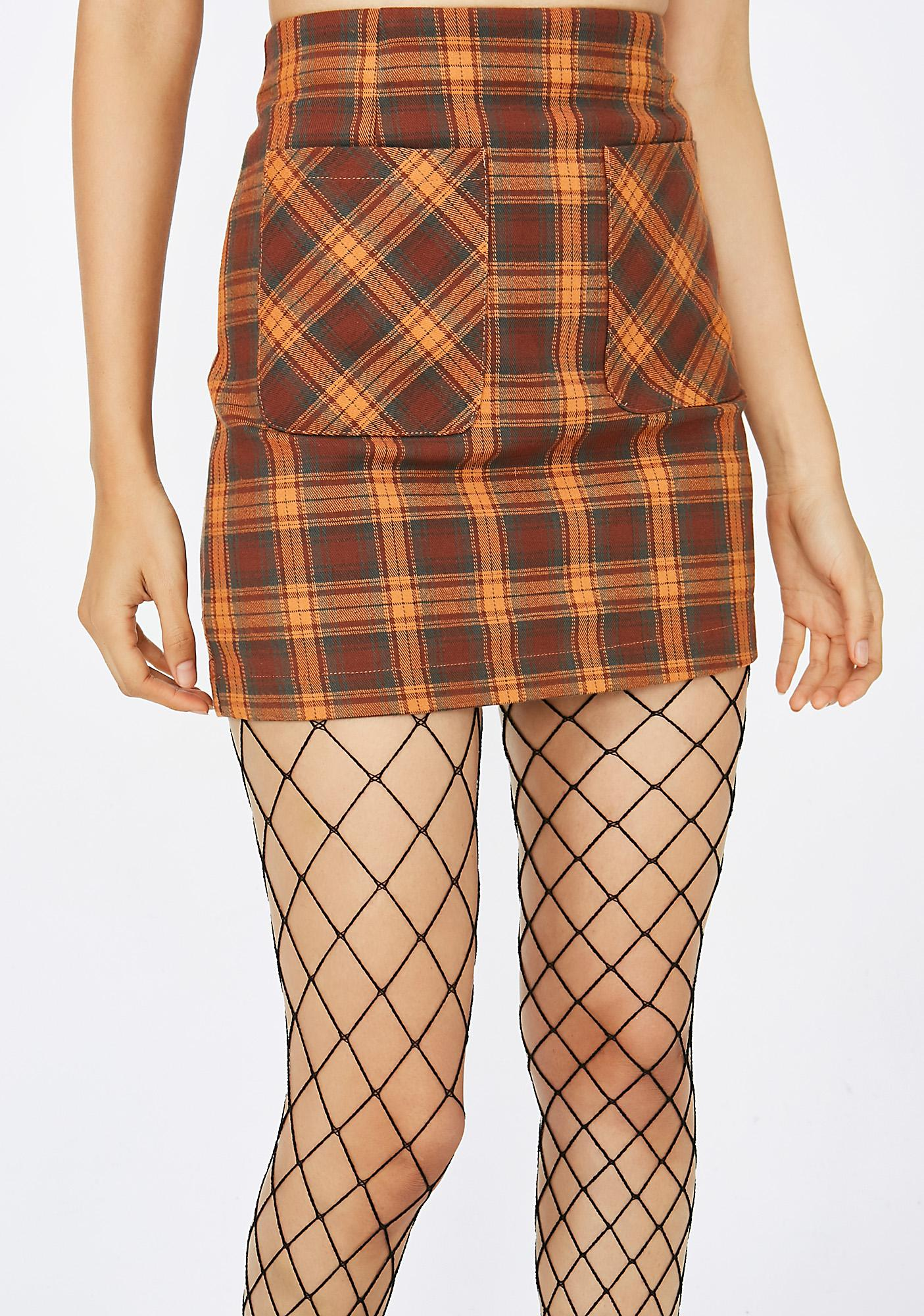 Conflict Of Interest Plaid Skirt