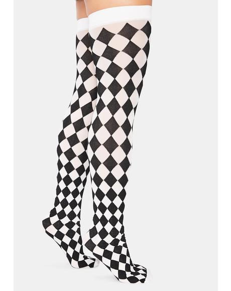 Harlequin Dreams Checkered Thigh High Socks