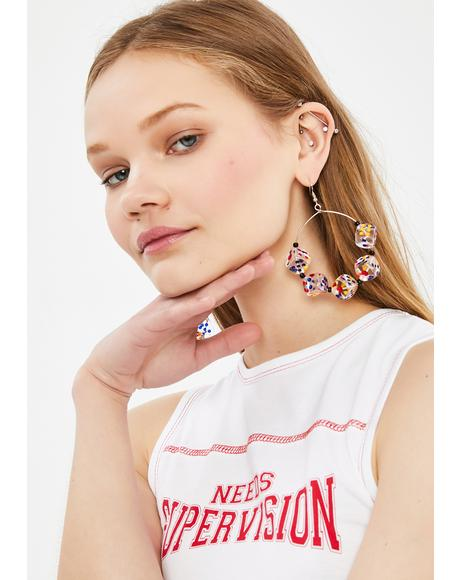 Roll The Dice Hoop Earrings