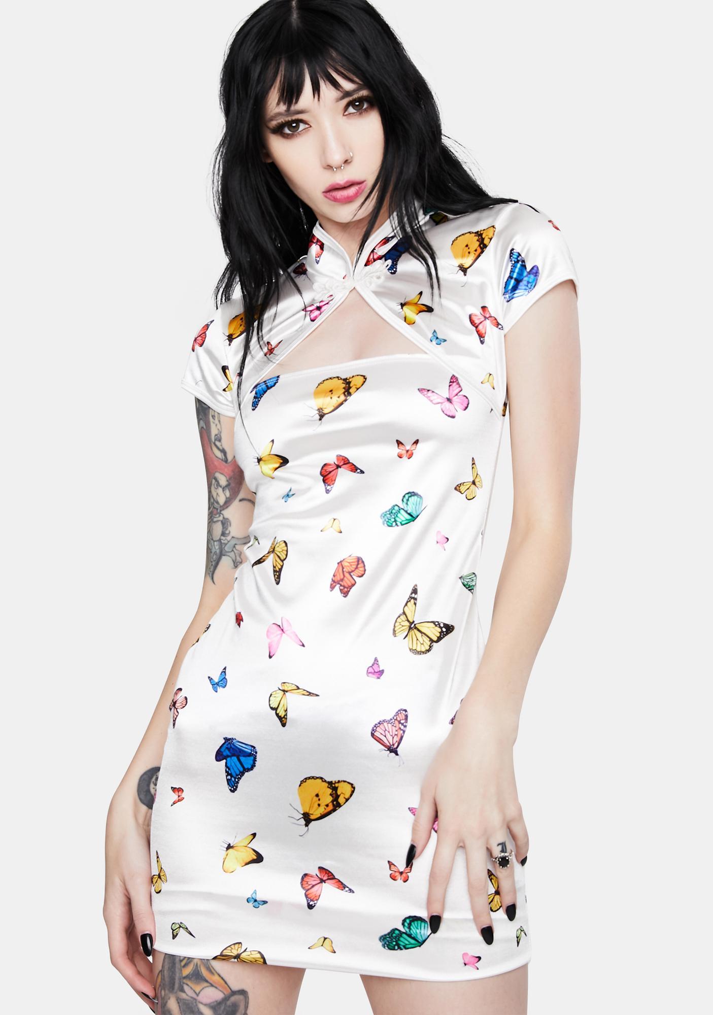 Motel Cream Butterfly Tuli Bodycon Dress