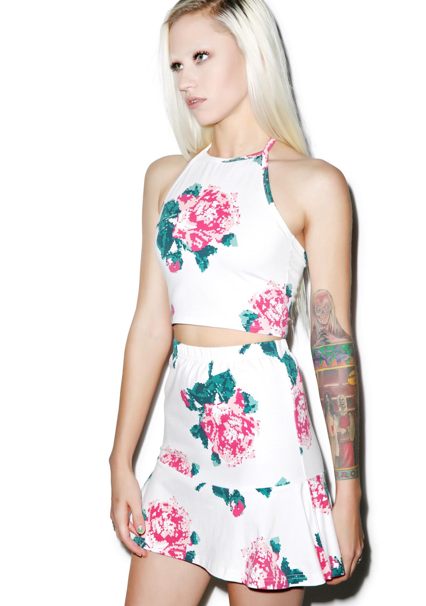 Joyrich 8bit Floral Fit & Flare Skirt
