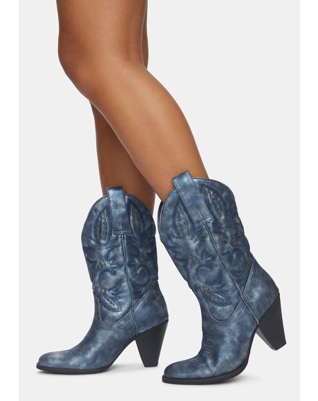 Navy Denver Cowboy Boots