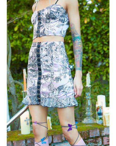 Draped In Dawn Floral Mini Skirt