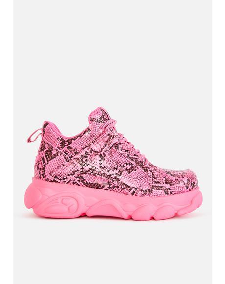 Pink Snakeskin Corin Platform Sneakers