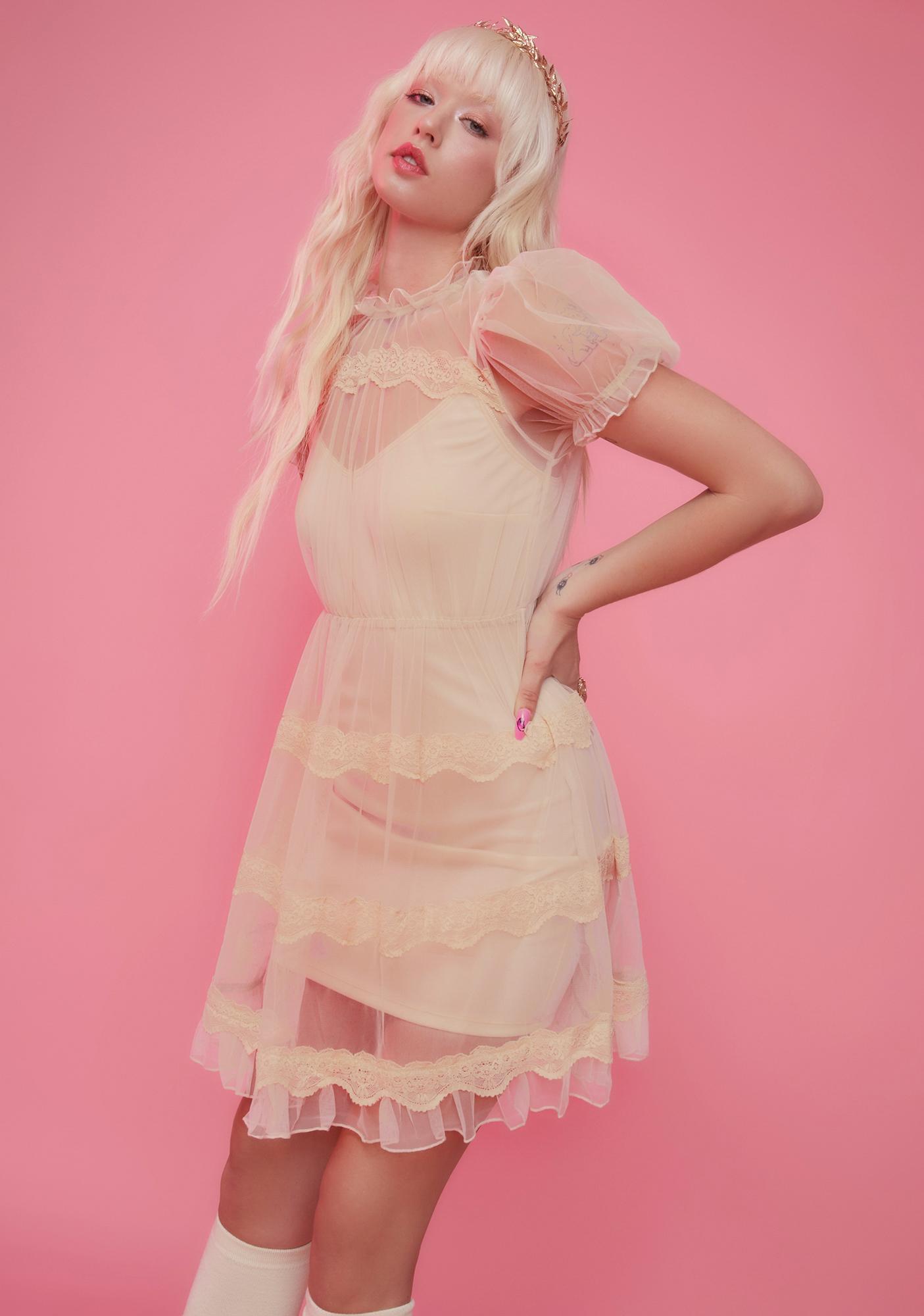 Sugar Thrillz Dream Meadow Sheer Babydoll Dress