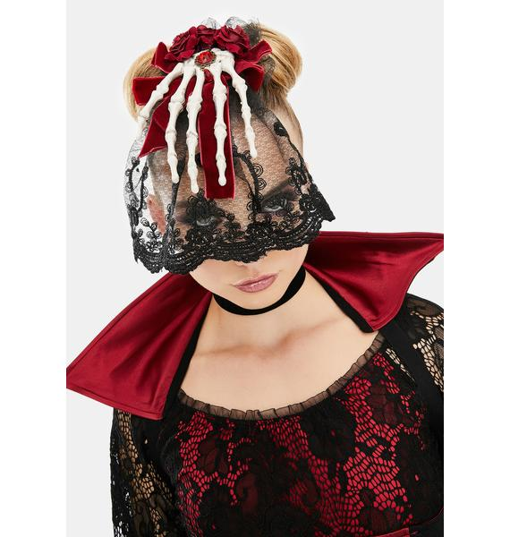 Wine Funeral Hour Lace Veil