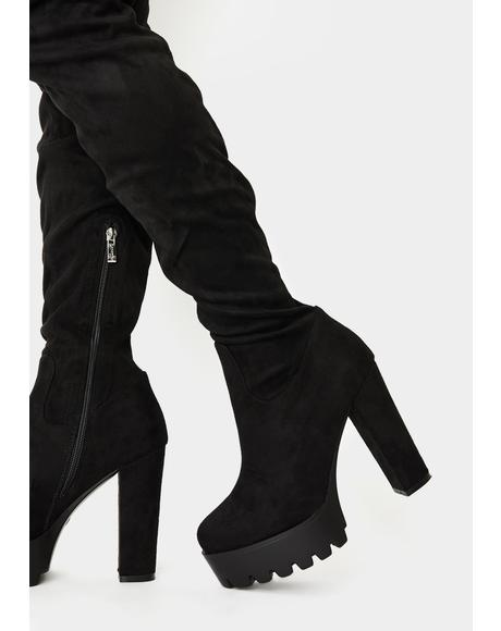 Suede Take You Down Thigh High Boots