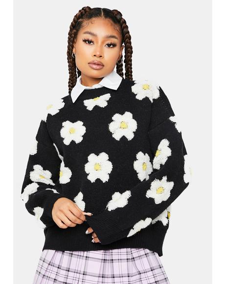 Keep it Civil Daisy Print Teddy Sweater