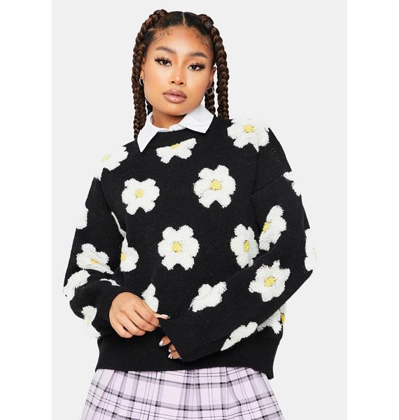 Keep it Civil Daisy Print Teddy Sweater