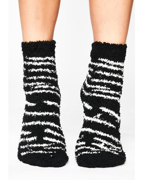 Sly Strides Fuzzy Socks