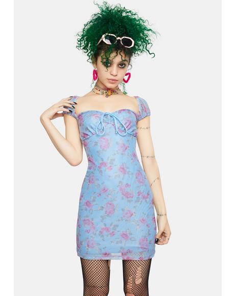 Rosa Powder Blue Mesh Bigail Mini Dress