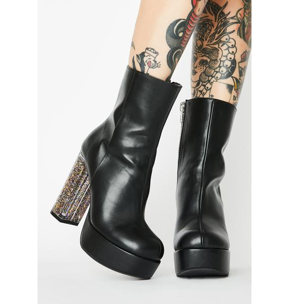 HOROSCOPEZ Saturn's Force Glitter Heel Boots