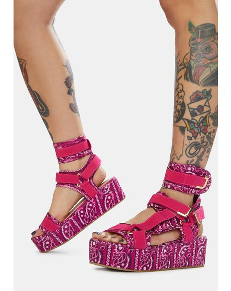 Fuchsia On The Runway Strappy Platform Sandals