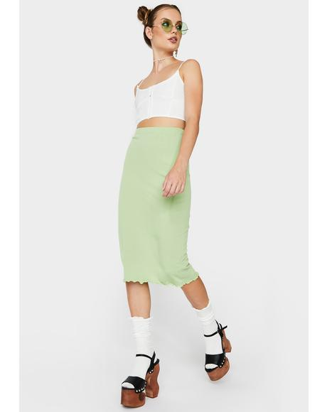 Solid Midi Skirt