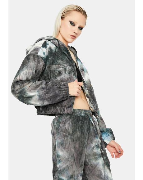Twilight Moon Tie Dye Zip Up Jacket