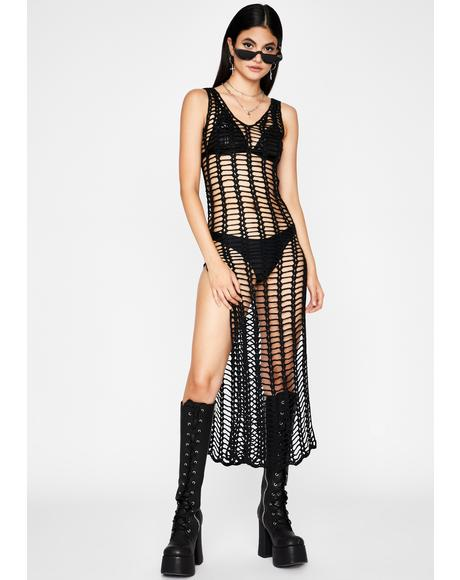 Don't Stare Fishnet Dress