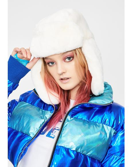 Icy Fresh Powder Fur Trapper Hat