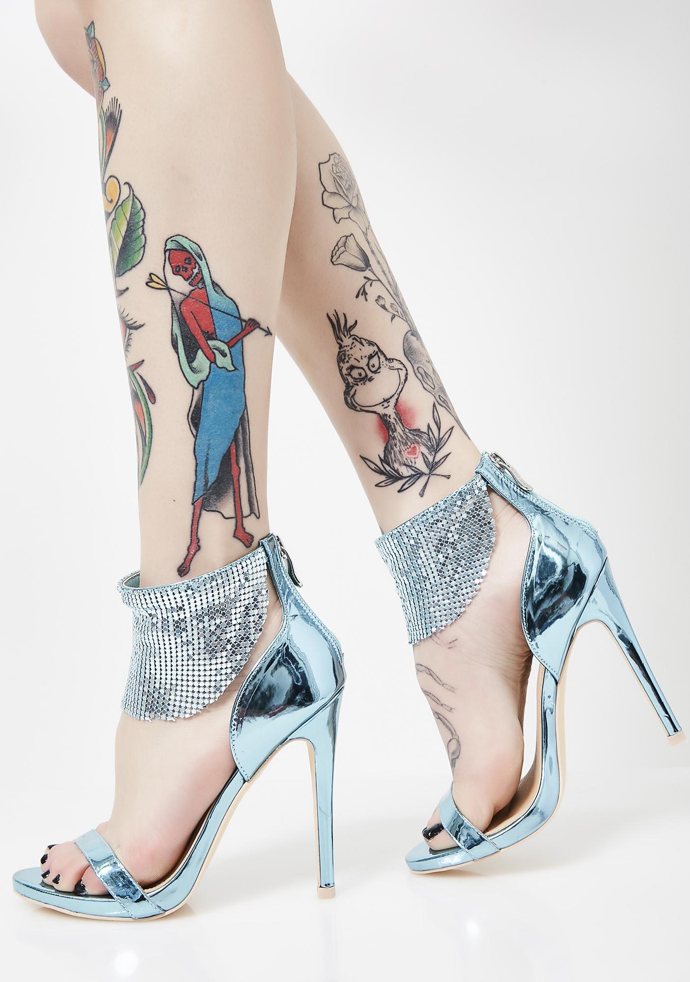 Disco Dimepiece Metallic Heels