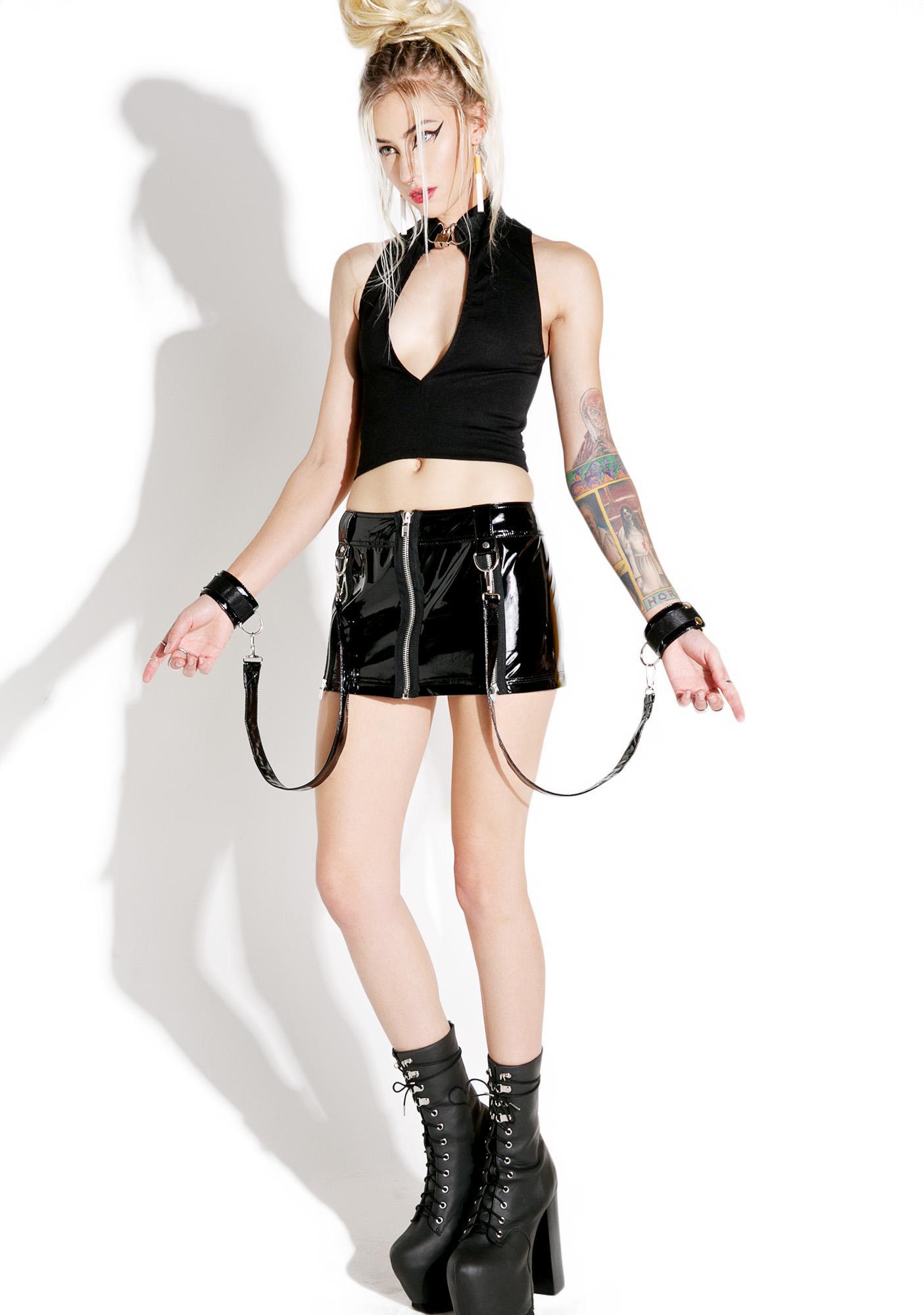 Current Mood Collision Bondage Mini Skirt