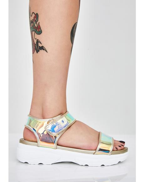 Gilded Icy Nebula Holographic Sandals