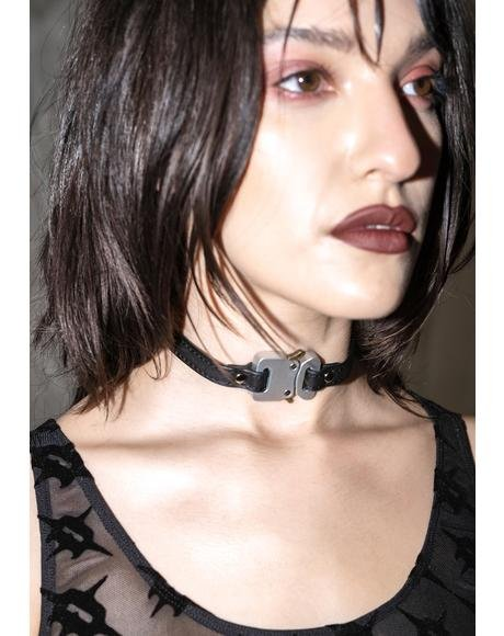 Synth Vegan Leather Choker With Silver Buckle