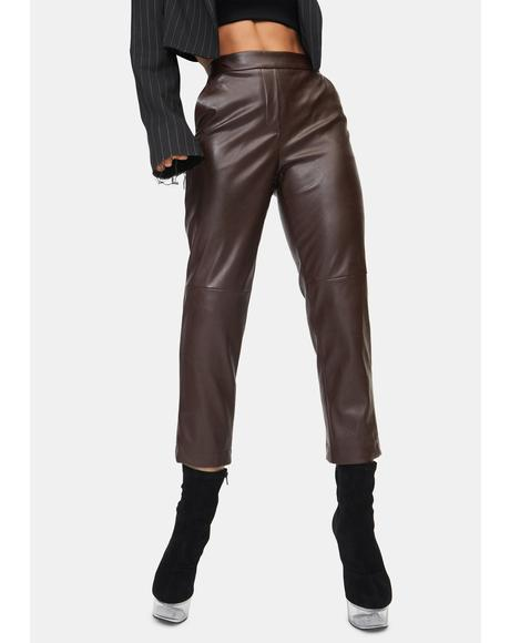 Mocha Moments Like This Faux Leather Pants