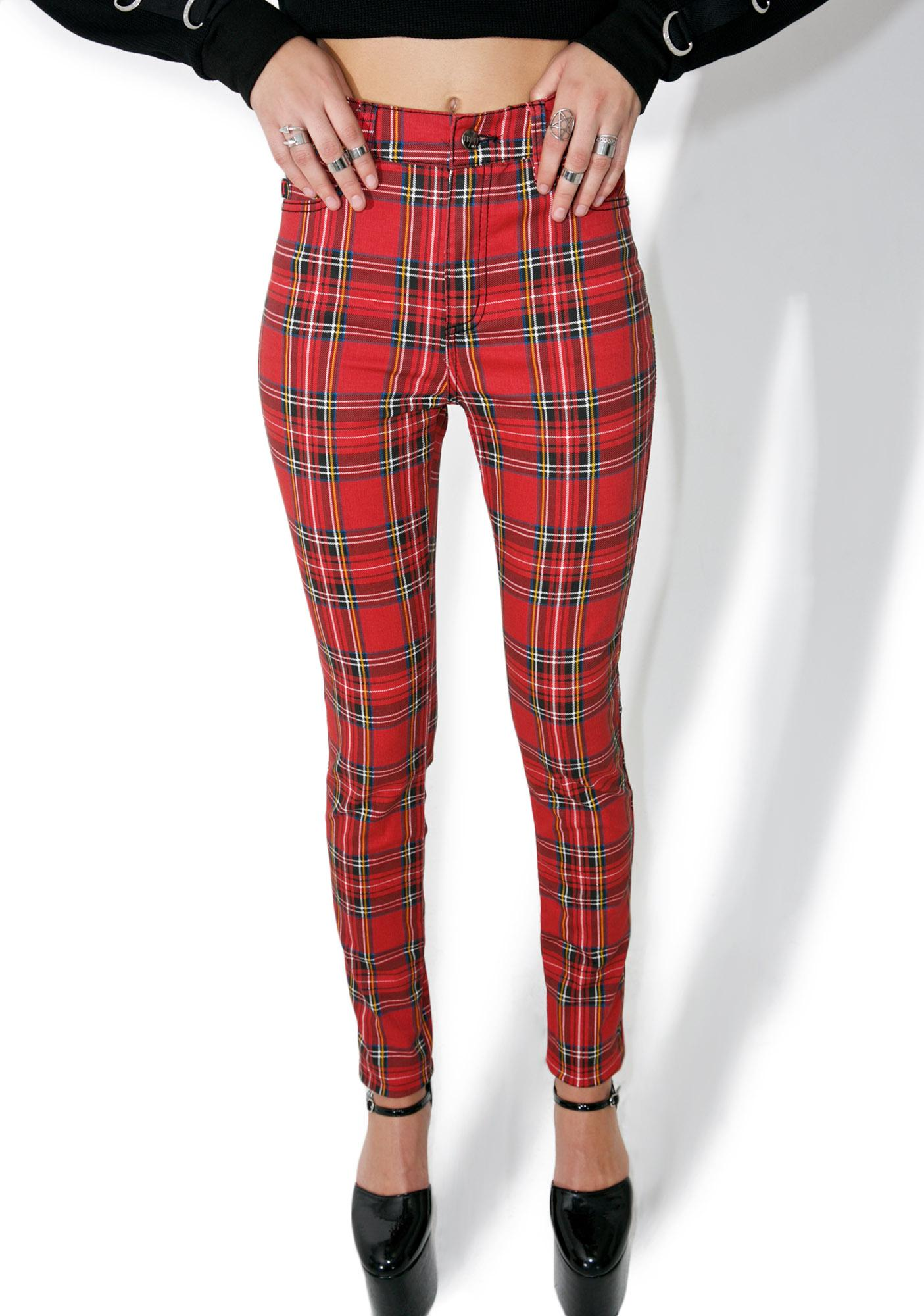 Tripp NYC High Waisted Plaid Pants | Dolls Kill
