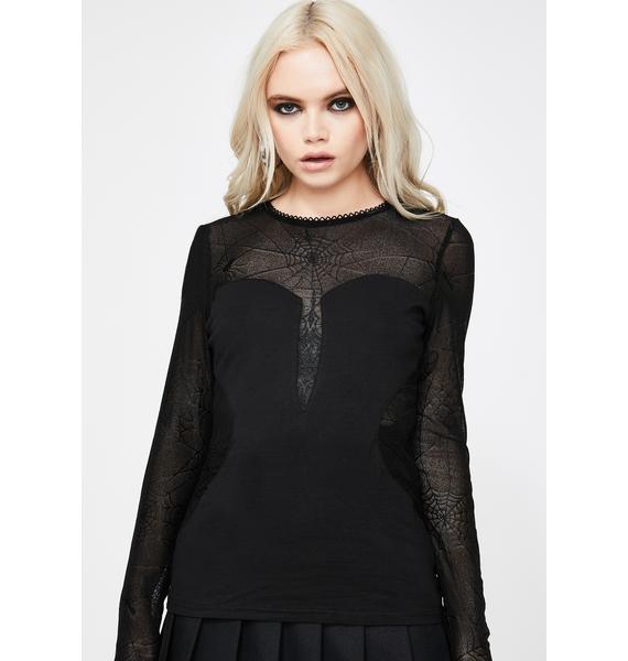 Devil Fashion Spider Web Sheer Long Sleeve Top